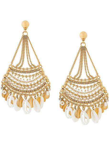 Gas Bijoux women earrings gold grey metallic jewels