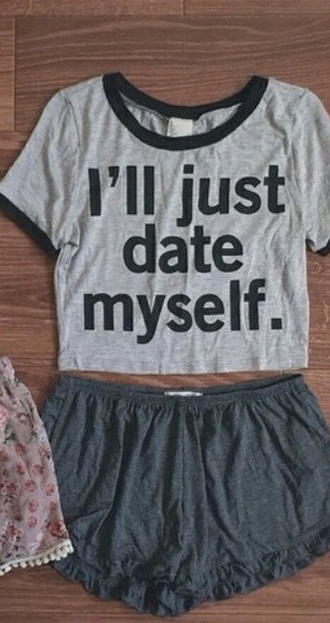 t-shirt shirt black grey funny date outfit crop tops shorts