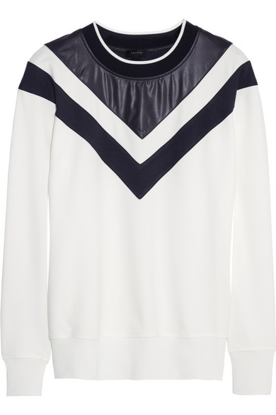 Theory | Faux leather-paneled jersey sweatshirt | NET-A-PORTER.COM