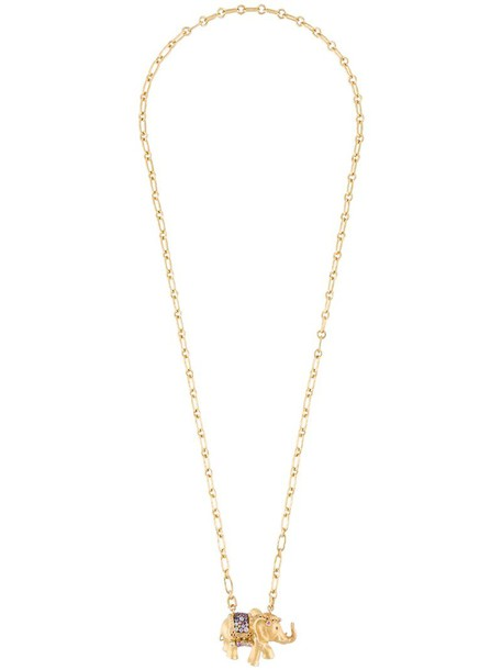 AURELIE BIDERMANN indian women couture necklace gold yellow grey metallic jewels