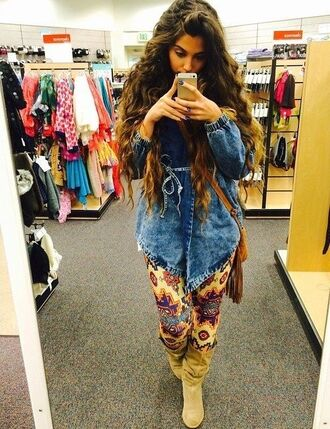 tights aztec leggings girl fashion trendy fall outfits model native american jeans denim