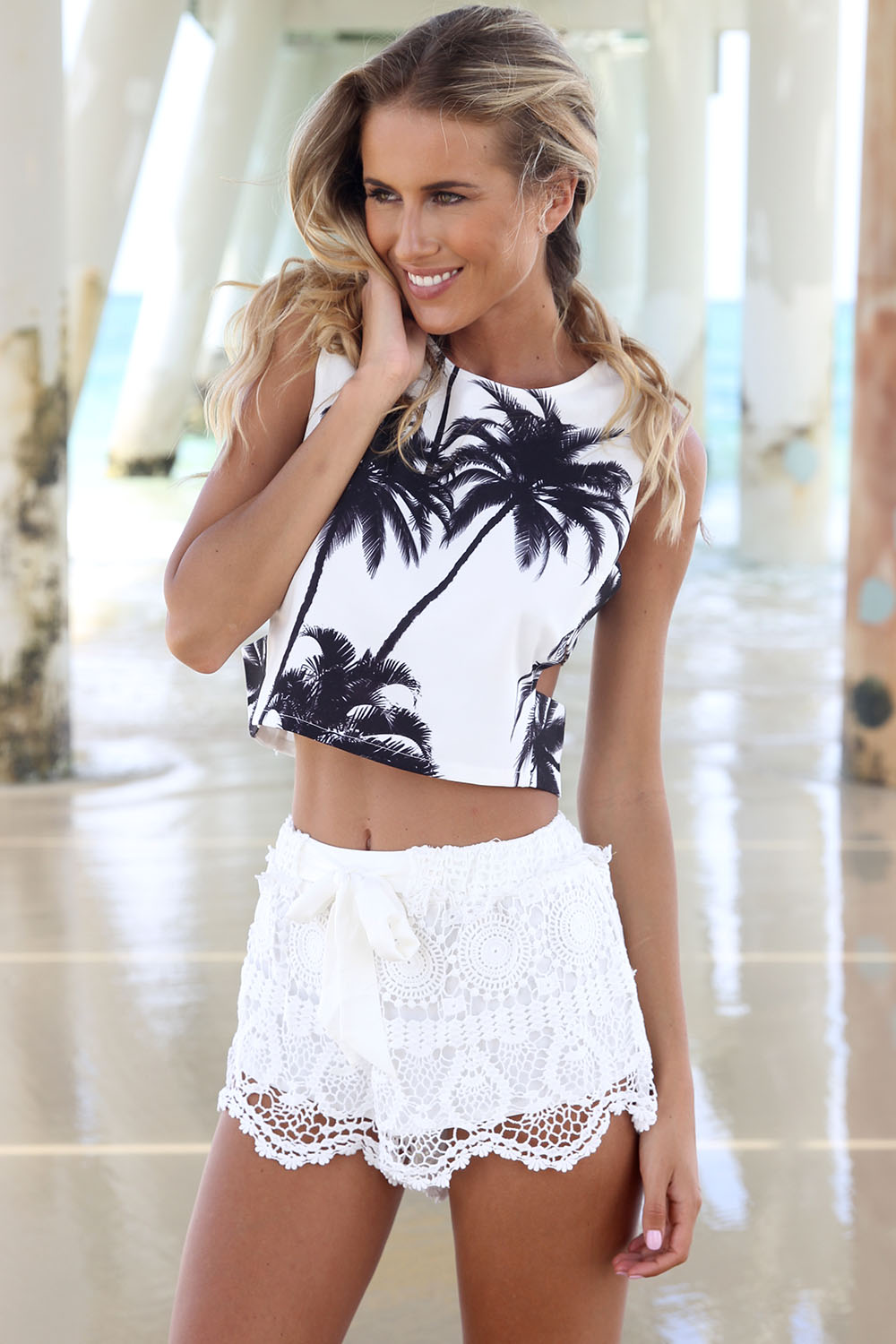 White Shorts - White Mid-Rise Crochet Shorts | UsTrendy