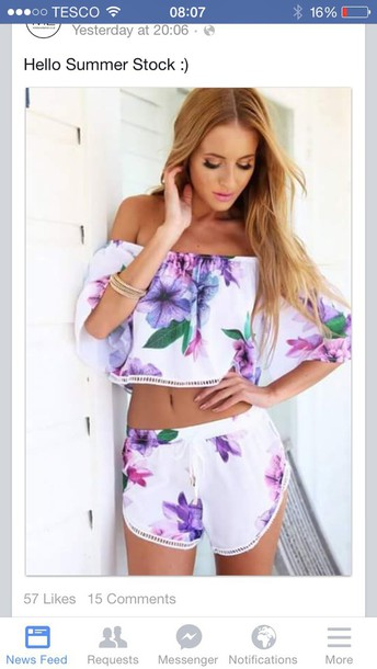 shirt shorts top romper floral fashion two-piece off the shoulder flowers purple crop tops beautifulhalo