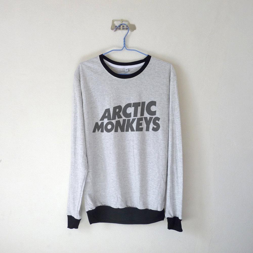 Arctic monkeys logo unisex long sleeve tshirt / white grey / tumblr inspired / plus size