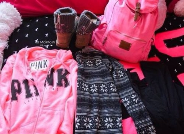 bag pink pink bag shoes sweater jacket pants
