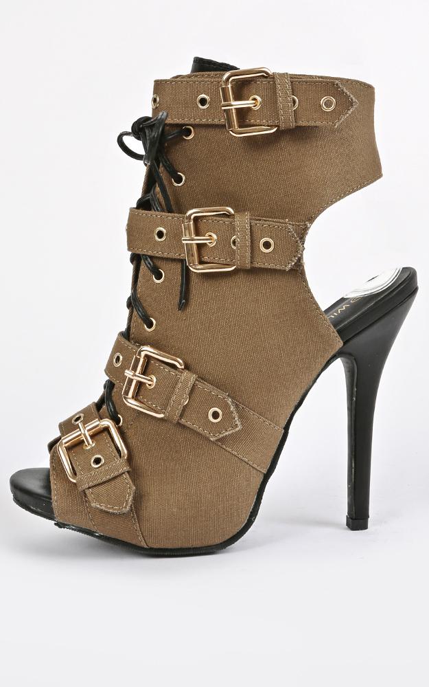 Wild Diva Bridget-38 Lace Up Buckle Heels | MakeMeChic.com