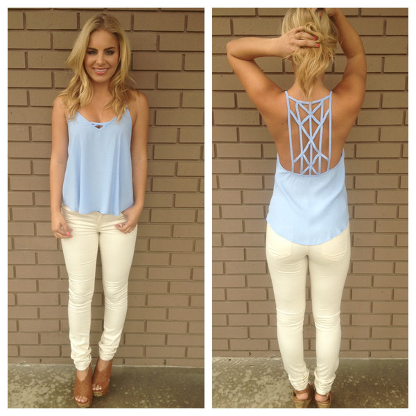 Sky Blue Web Tank                           | Dainty Hooligan Boutique
