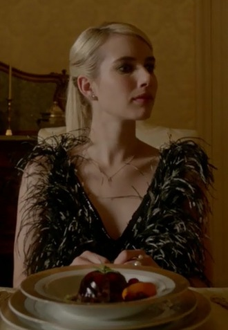 dress chanel oberlin emma roberts scream queens black feathers vogue
