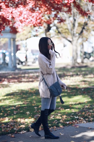 fashionably kay blogger sweater jeans shoes sunglasses bag crossbody bag blue bag fall outfits oversized sweater flat boots knee high boots