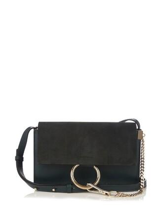 bag shoulder bag leather suede dark green