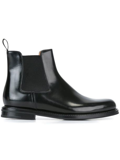 Church's women boots ankle boots leather black shoes