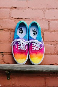 shoes vans rainbow blue pink yellow orange red purple