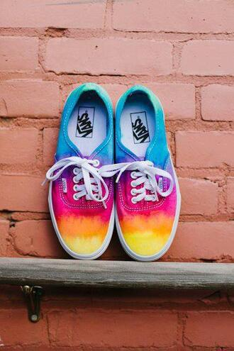 shoes vans rainbow blue pink yellow orange red purple tie dye summer multicolor colorful multicolor sneakers sneakers girly colorful shoes rainbow colour sneakers