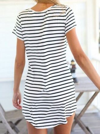 dress casual summer outfit style stripes blue white mariniere