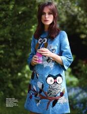 dress,keira knightley,owl,dolce and gabbana