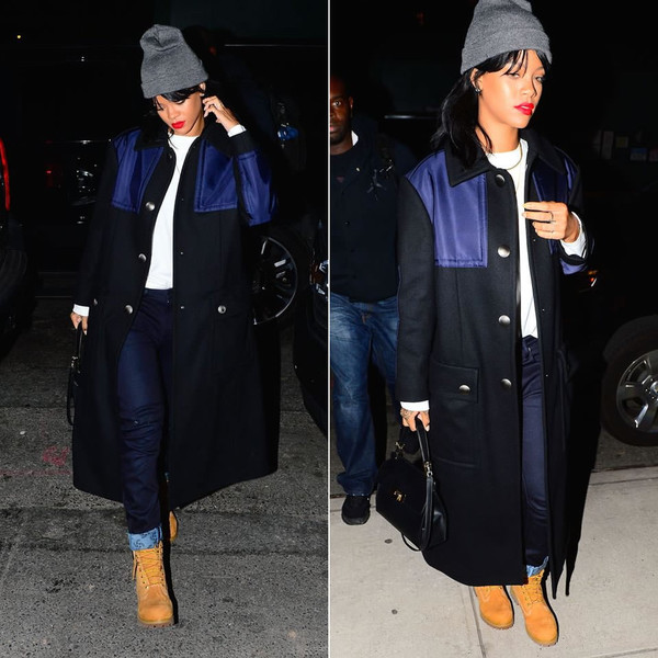 coat rihanna boots pants fall outfits streetstyle shoes