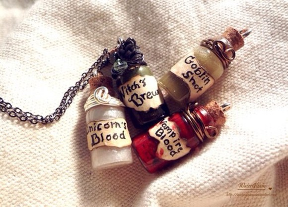 red white jewels cute chains necklace unicorn blood vampire bottles goblin witch green