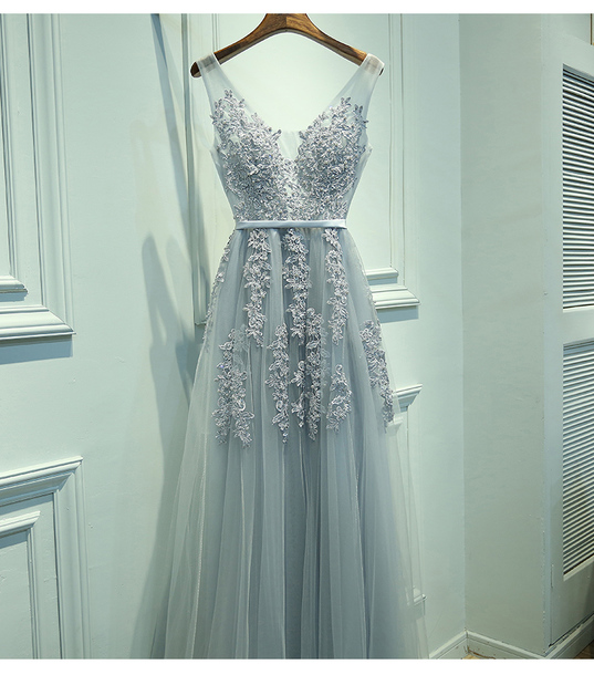 dress light blue long dress lace straps v neck dress low back dress zipper dress a line dress prom dress prom blue flowers