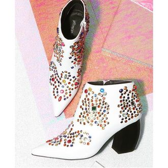 shoes nastygal booties boots ankle boots jeweled zip closure stacked curved heel vegan leather pointed toe jeffrey campbell mid heel boots