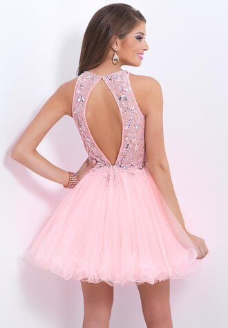 backless a-line pink prom dresses beading party dresses short prom dress