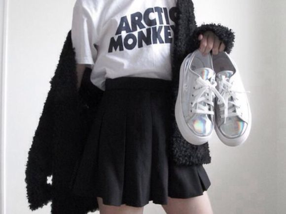 skirt t-shirt shoes black skater skirt sweater band t-shirt artic monkeys white converse black cardigan silver metallic platform sneakers