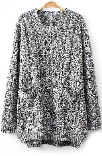 Grey long sleeve cable knit pockets sweater
