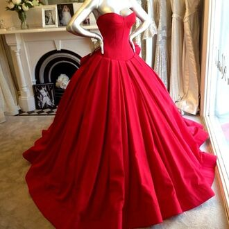 red dress bustier dress sweetheart neckline ball gown dress prom dress winter formal dress formal event outfit