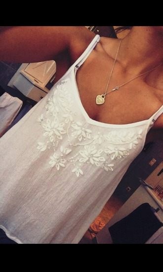 top abercrombie & fitch a&f white white top white crop tops crop tops sequins sequin top pearl jeweled jewels