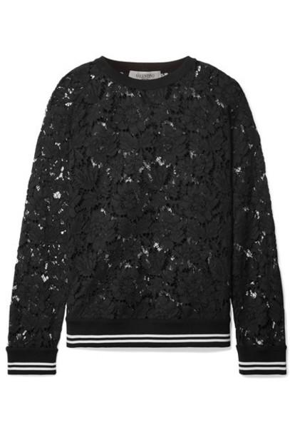 Valentino sweatshirt lace cotton black sweater