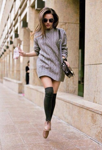 dress knitted dress grey dress preppy knee high socks cable knit fall outfits sweater dress socks grey