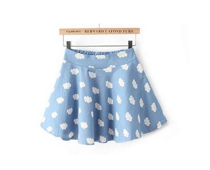 Clouds Print Mini Skirts