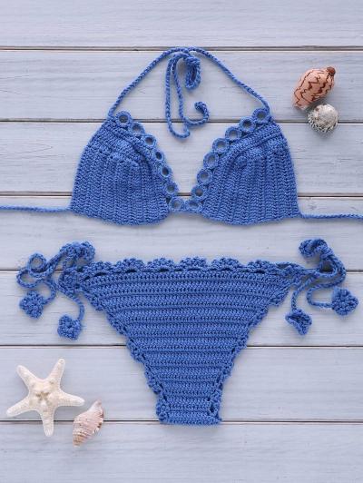 Sexy Halterneck Crochet Solid Color Bikini Set For Women