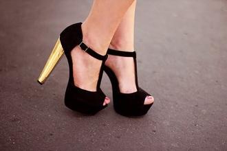 shoes black gold black heels high heels