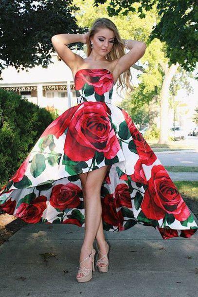 dress prom dress party dress floral dress strapless