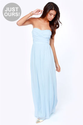 Light blue maxi dress strapless