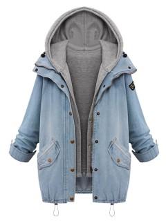 Blue hooded zipper rope long sleeve denim coat