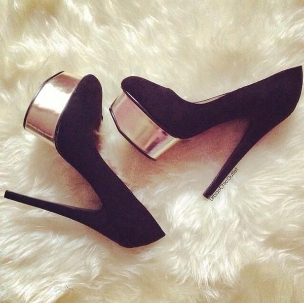 shoes black heels gold platform shoes sexy chic pumps