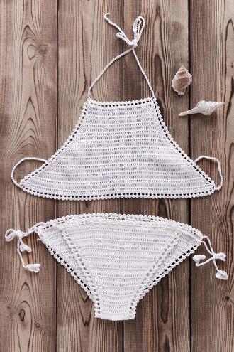 swimwear bikini white crochet trendy beach summer dressfo