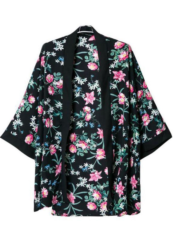 Black Long Sleeve Floral Loose Kimono - Sheinside.com