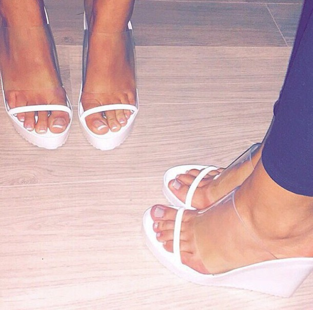 shoes perspex sandals wedges white