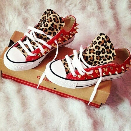 Flash sale!!!leopard studded converse shoes