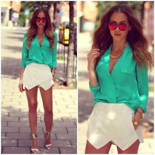 shirt mint glasses turquoise skorts white skirt summer outfits shorts