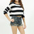 3/4 sleeve knitted black & white stripe crop top