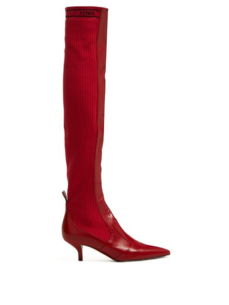 Fendi - Rockoko Leather And Ribbed Knit Boots - Womens - Red
