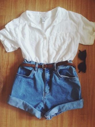 shorts boyfriend shorts blue high waisted blouse