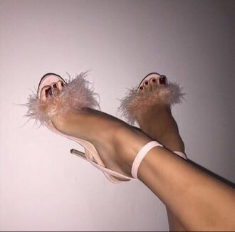 shoes fluffy heels pink soft feathers sandal heels high heel sandals nude heels nude classy trendy fluffy heels girly pastel pink fur heels