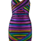 Backless patterned foil bandage dress rainbow