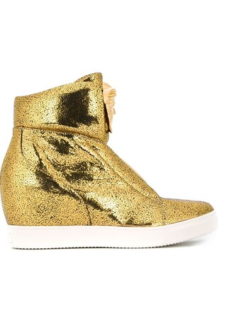 high sneakers wedge sneakers metallic shoes