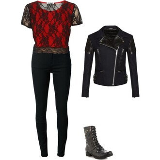 edgy black blackandred shirt jacket leather jacket black pants shoes boots combat boots red pants
