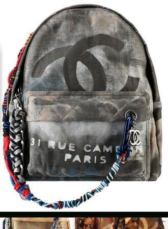 bag backpack chanel denim printed backpack